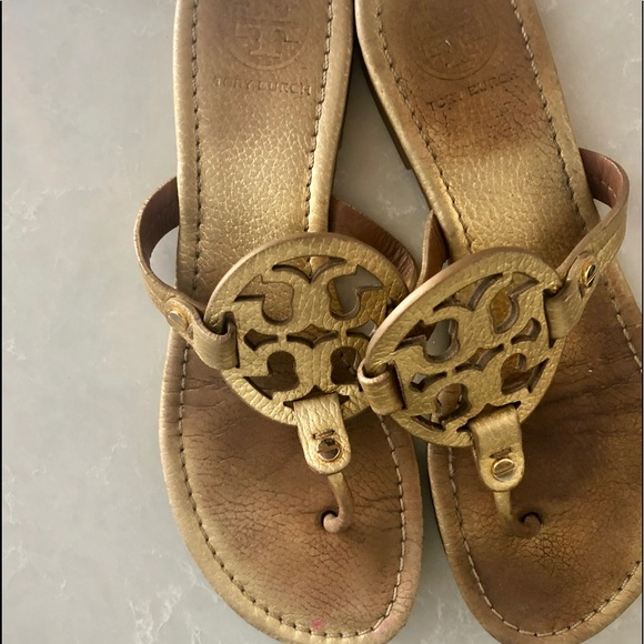 Tory Burch Shoes - Gold Tory Burch Miller Flip Flop Sandals